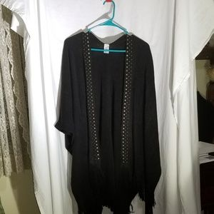 Black No boundaries poncho with stud embellishment